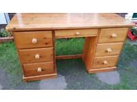 Large Waxed Pine Seven Drawer Desk