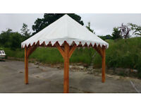 timber framed pavilion 3m x 3m with canvas covered pyramid roof.