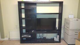 Black ash TV entertainment freestanding wall unit