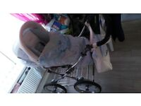 Babystyle blue white bouncy pram