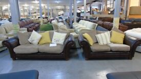 PRE OWNED 3 Seater + 2 Seater in Brown Leather/Fabric