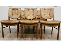 Gorgeous Retro Danish inspired original Mckintosh teak dining chairs with tan leather