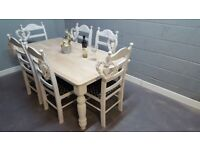 Stunning Farmhouse -Bespoke- Table and chair Set-Cream-white-Grey