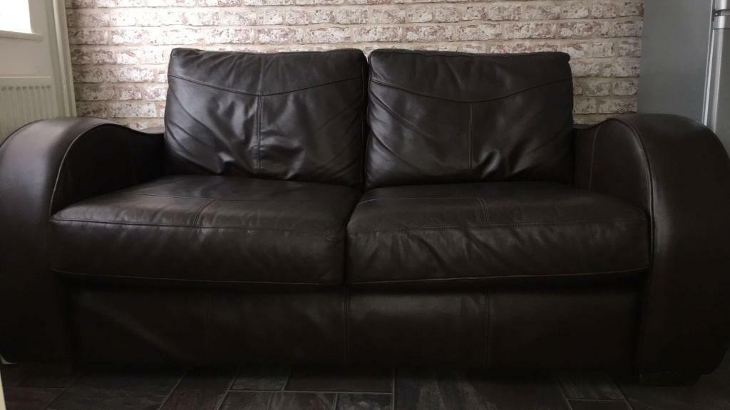 Brown leather sofain Syston, LeicestershireGumtree - Very good condition Length 64.5 inch Height 27.5 inch Width 23 inch