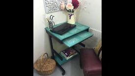 COMPACT SIZE DESK WITH PULL OUT KEY BOARD SHELF TURQUOISE COLOUR CHALK PAINT