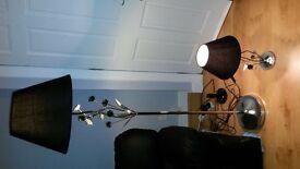 ***Black shade chrome floor lamp & matching side lamp***