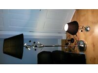 ***Black shade chrome floor lamp & matching side lamp***