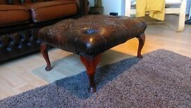 Vintage Leather style Chesterfield Footstool
