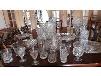 Crystal glasses, vases bowls decanter. Must sell owing to house move.