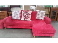 Red corner sofa & stool
