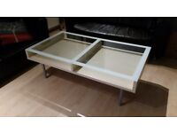 Glass coffee table - wooden under tables and metal table legs