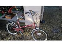 "Elswick folding bike, 3 speed, 16"" wheels, stand, rear rack, maroon, fair condition"