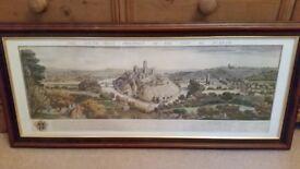 large old Durham map, framed, superb item