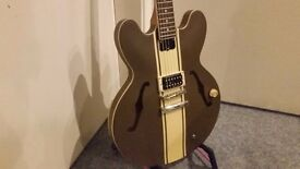 Epiphone Tom Delonge Signature ES333 Guitar in Brown - Collection Only.
