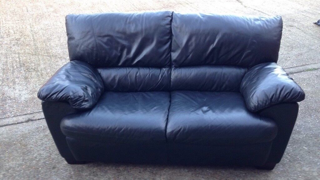 Sofa black leather two seater FREE local delivery! Fantastic condition!!