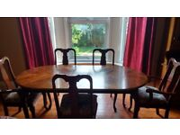 Mahogany extending dining table and 5 chairs