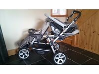 Jane Powertwin double buggy / pushchair + 1 infant car seat + 2 footmuffs + 2 hoods