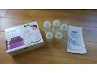 Avent single electric breast pump and bottles