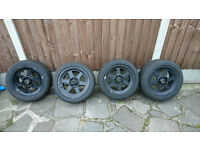 Rare JDM Bridgestone V'Racing alloy wheels and Toyo T1-R Tyres 4x100 et35 15x7 - NOT VOLK RAYS ROTA