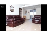 Leather sofa plus 1 chair in dark brown