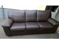 Brown Leather 3 Seater Bed Settee, converts easily to a King Size Bed.