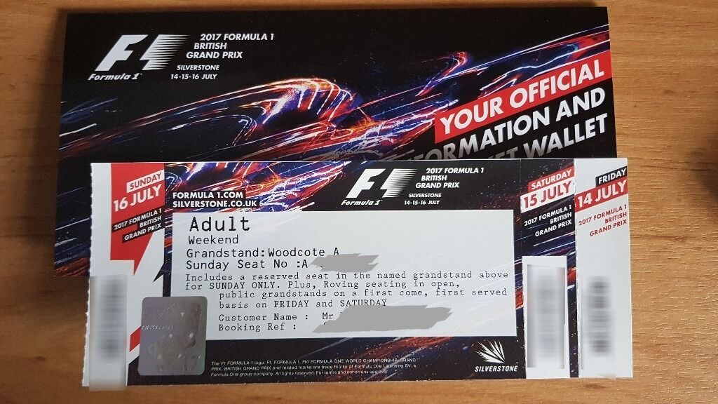 British Grand Prix Silverstone F1 Ticket - Woodcote A, Row A | in ...
