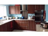 14, MOORES KITCHENS, WALNUT UNITS FOR SALE. INCLUDING HOB AND EXTRACTOR FAN ONLY 3 YEARS OLD.
