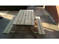 Heavy duty picnic bench table garden furniture solid made treated timber
