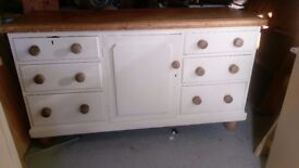 large cream and pine base dresser unit.
