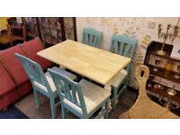 Solid Block Beech Refectory Style Compact Dining Table & 4 Chairs