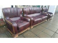 Oxblood leather sofa and 2 armchairs. Delivery available