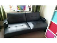 Leather look sofa bed
