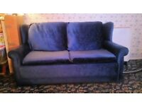 SOFA BED SETTEE - DOUBLE - 2 SEATER - NAVY BLUE MATERIAL