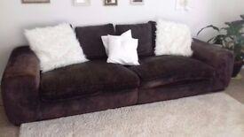 Big Brown Velvet Sofa dividable into 2