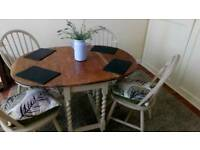 Lovely Shabby Chic Extending/folding table and 4 chairs