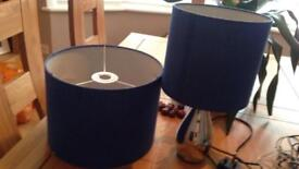 Blue ceiling lampshade and blue bedside lamp with chrome base, touch lamp