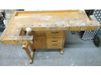 swedish broderna serjobergs cabinet makers workbench. with 2 vices. solid birch