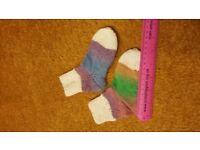 Home hand made knitted Boy girl 1-2-3 years wool socks colourful