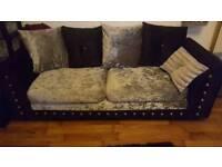 Sofa Set 3 + 2 Seater Crushed Velvet Black And Silver Scatter Back.