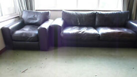 Dark Brown Leather Sofa + 2 Armchairs