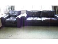 Dark Brown Leather Sofa + 2 Armchairs