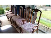 6 seater mahogany dining table and chairs extendable