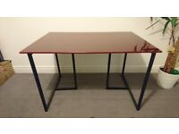 Habitat Contemporary Desk or Dining Table with Trestle Legs Red Glass Top. Great Condition.