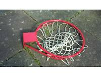 Full size 18 inch basketball hoop. Strong hoop with quality rope