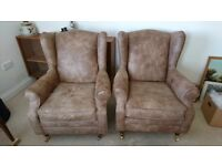 Real leather armchairs x2