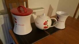 Teapot, utensil jar and biscuit jar