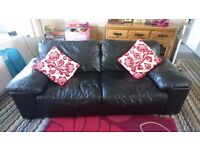 Leather sofas x2 (3 seaters vgc)