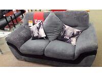 Grey w/Black Fabric 2 Seater Sofa