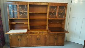 Yew wood display cabinet