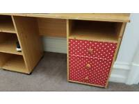 Desk with a polka dot set of drawers